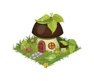 Isometric Cartoon Fantasy Mushroom Village House Decorated with Leaves - Elements for Tileset Map. Landscape Design or Game Object Set in Colorful Detailed Royalty Free Stock Image