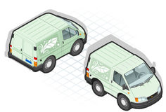 Isometric cartoon green van. With leaf decoration Royalty Free Stock Photos