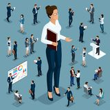 Isometric cartoon people, 3d businessman big man small workers and subordinates, female director for vector illustrations.  stock illustration