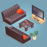 Isometric cartoon sofa, TV,  icon isolated on blue. Isometric cartoon sofa, TV and table icon isolated on blue. Couch  with dark upholstery. Front and back Royalty Free Stock Photo