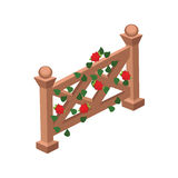 Isometric Cartoon Wooden Fence or Gate  Decorated with Red Roses and Green Leaves Royalty Free Stock Photos