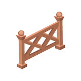 Isometric Cartoon Wooden Fence or Gate  - Element for Tileset Map, Landscape Design Stock Photography
