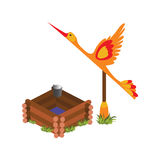 Isometric Cartoon Wooden Village Water Well with Crane - Elements for Tileset Map royalty free illustration