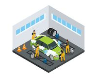 Isometric Carwash Service Concept. With workers washing automobile using sponges and special tools in garage isolated vector illustration stock illustration