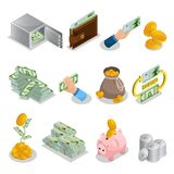 Isometric Cash Icons Set. With bank safe wallet currency bag of gold coins money tree piggy bank bitcoins isolated vector illustration Royalty Free Stock Photo