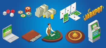 Isometric Casino Icons Set. With dice poker chips money playing cards jackpot online gambling wallet croupier roulette slot machine  vector illustration Stock Photography