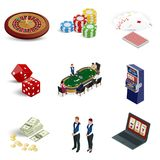 Isometric casino icons set. Laptop with roulette, slot machine, dice, casino chips and playing cards isolated on. Background. Vector illustration stock illustration