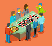 Isometric casino. People play at casino table Stock Photo