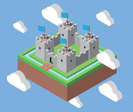 Isometric castle in the clouds Royalty Free Stock Images