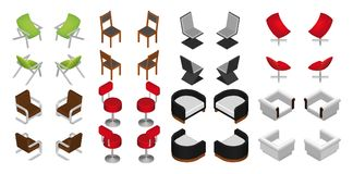 Isometric chair and armchair set. Vector furniture. Royalty Free Stock Image