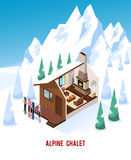 Isometric Chalet With Fireplace In Mountains Royalty Free Stock Photo