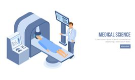 Isometric charakter robi tomografii pacjent dla lekarka Obraz Stock