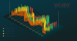 Isometric chart 3D. Big data analytic and visualization. royalty free illustration