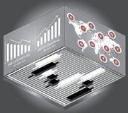 Isometric Chart and Graph Icons,map and currency. Stock Photo