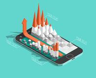 Isometric charts and graphs on the smartphone. Screen. mobile application theme. 3d vector illustration Stock Photo