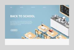 Isometric Chemistry Classroom Landing Page vector illustration