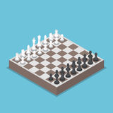 Isometric chess piece or chessmen with board. Competition, business strategy concept Royalty Free Stock Images