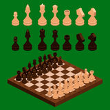 Isometric chess pieces with board. Flat design. 3d illustration stock illustration