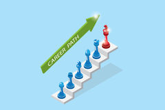 Isometric chess pieces represent career growth, career path and business concept Stock Photography