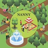 Isometric Childcare Colorful Template. With parents walking with children in park and nanny looks after kids playing in sandbox vector illustration royalty free illustration