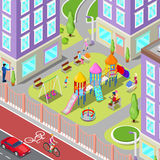 Isometric Children Playground in the Dormitory with People Stock Image