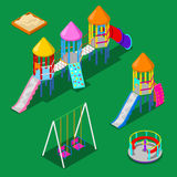Isometric Children Playground Elements - Sweengs, Carousel, Slide and Sandbox. Vector illustration Stock Photo