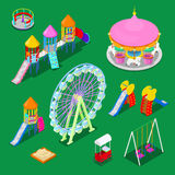 Isometric Children Playground Elements Sweengs, Carousel, Slide and Sandbox. Vector illustration Royalty Free Stock Photos
