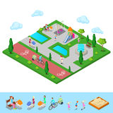 Isometric Children Playground in the Park with People Stock Images
