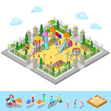 Isometric Children Playground in the Park with People, Sweengs, Carousel, Slide and Sandbox Stock Photo