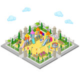 Isometric Children Playground in the Park with People, Sweengs, Carousel, Slide and Sandbox Stock Photography