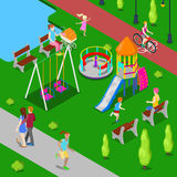 Isometric Children Playground in the Park with People Royalty Free Stock Photos