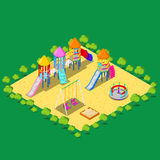 Isometric Children Playground with Sweengs, Carousel, Slide and Sandbox. Vector illustration Royalty Free Stock Images