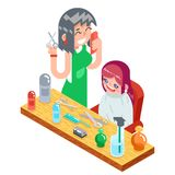 Isometric children teenager hairdresser character cute little girl and female master haircuts icon flat design concept. Isometric children teenager hairdresser Stock Photos