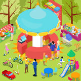 Isometric Children Toys Shop Interior with Toys and People Royalty Free Stock Photos