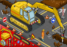 Isometric Chisel Excavator in Front View. Detailed illustration of a isometric chisel excavator in Front View with Man at Work Stock Photo