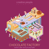 Isometric chocolate factory with micro workers Stock Photo