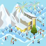 Isometric Christmas Celebration Concept. With fireworks winter sport family children making snowman near decorated tree and house vector illustration Stock Images