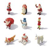 Vector Christmas characters Isometric. Isometric Christmas characters isolated on white background Royalty Free Stock Photos