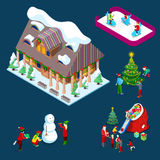 Isometric Christmas Decorated House with Christmas Tree, Santa, Children and Snowman. Vector 3d flat illustration Stock Photos