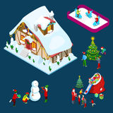 Isometric Christmas Decorated House with Christmas Tree, Santa, Children and Snowman. Vector 3d flat illustration Royalty Free Stock Photos
