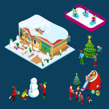 Isometric Christmas Decorated House with Christmas Tree, Santa, Children and Snowman Stock Images