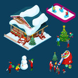 Isometric Christmas Decorated House with Christmas Tree, Santa, Children and Snowman. Vector 3d flat illustration Royalty Free Stock Images