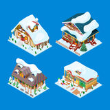 Isometric Christmas Decorated Houses with Christmas Tree and Snowman. Vector 3d flat illustration Royalty Free Stock Image
