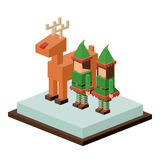 Isometric christmas elf and reindeer design Royalty Free Stock Image