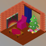 Isometric Christmas evening. Fire in fireplace, Christmas tree and presents Royalty Free Stock Images