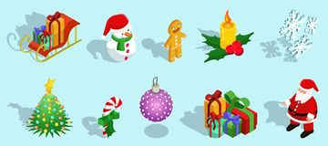 Isometric Christmas Icons Set. With sleigh snowman gingerbread man candle snowflakes fir tree candy ball gifts Santa Claus  vector illustration Royalty Free Stock Photo