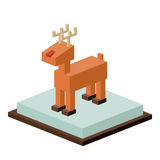 Isometric christmas reindeer design Royalty Free Stock Images