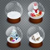 Isometric Christmas transparent snowglobe isolated on transparent vector background. . Winter in glass ball, crystal vector illustration