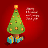 Isometric christmas tree red card. Vector surrealistic three-dimensional isometric illustration of Christmas tree and presents. Design for greeting card with Royalty Free Stock Photography