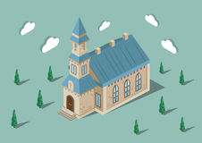 Isometric church. Building with trees Stock Photos